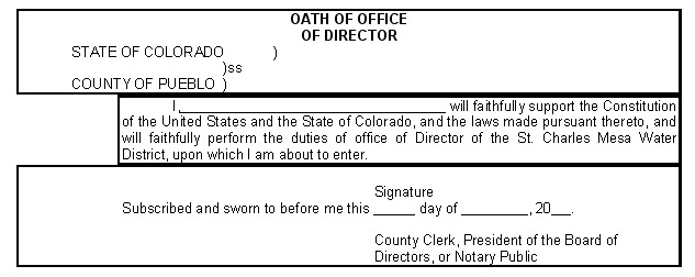 Article II Board of Directors – Oath of Office Template